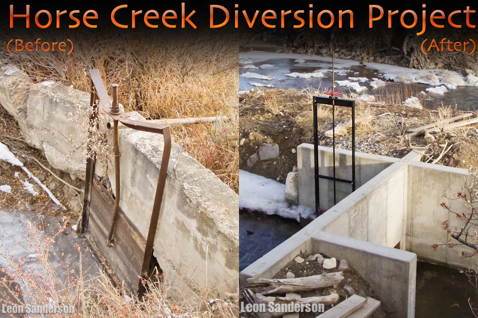 Horse Creek Project before and after photos of the Headgate